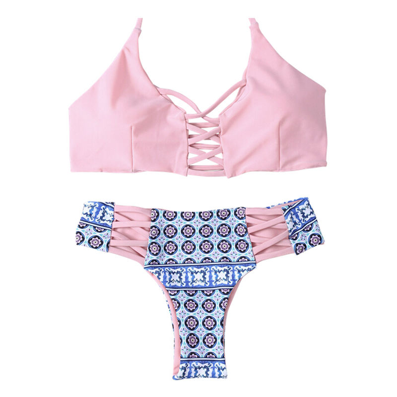 <font><b>Bikini</b></font> <font><b>Set</b></font> Hot <font><b>Sexy</b></font> <font><b>Women</b></font> Swimwear <font><b>Pink</b></font> <font><b>Bandage</b></font> Bra Floral Pattern Triangle Short <font><b>Push</b></font> <font><b>up</b></font> Padded Beachwear Swimsuit Bathing image