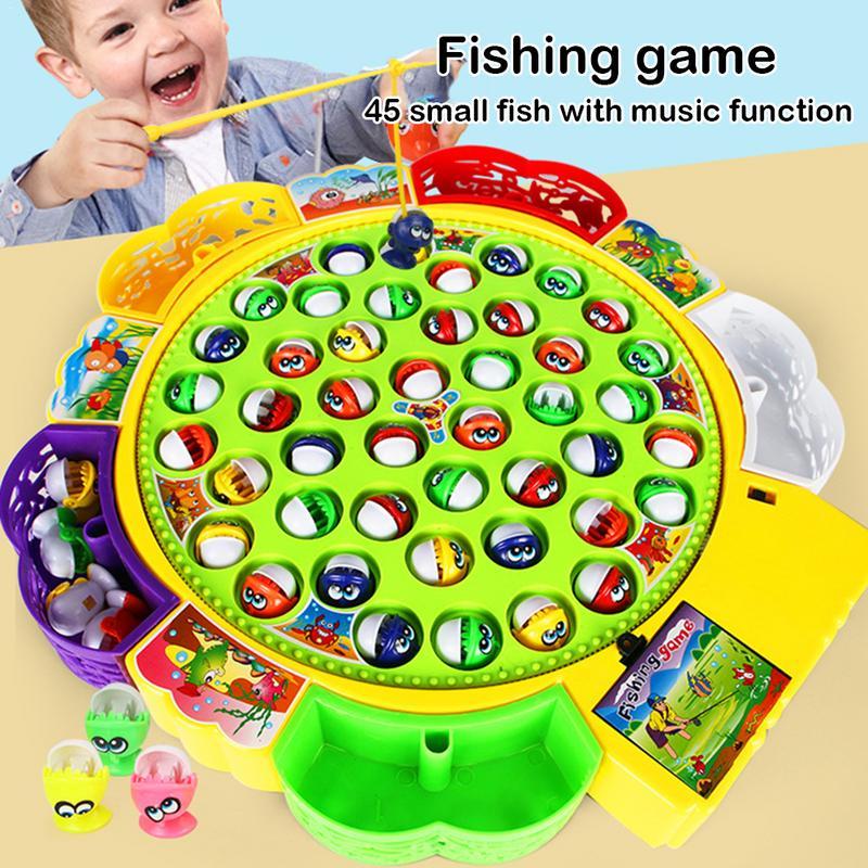 Girls Boys Baby Educational Toys Fish Musical Rotating  Fishing Toy Set Fish Game Educational Fishing Toy Child Birthday  Gift