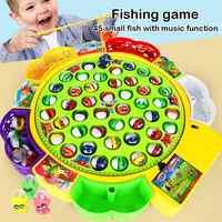 Детские развивающие игрушки для мальчиков и девочек, музыкальные вращающиеся игрушки для рыбалки, набор, обучающая игрушка для рыбалки, под...