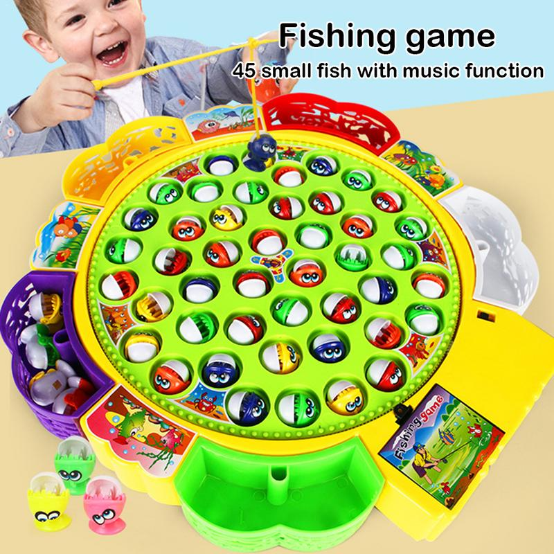 Girls Boys Baby Educational Toys Fish Musical Rotating  Fishing Toy Set Fish Game Educational Fishing Toy Child Birthday  Gift