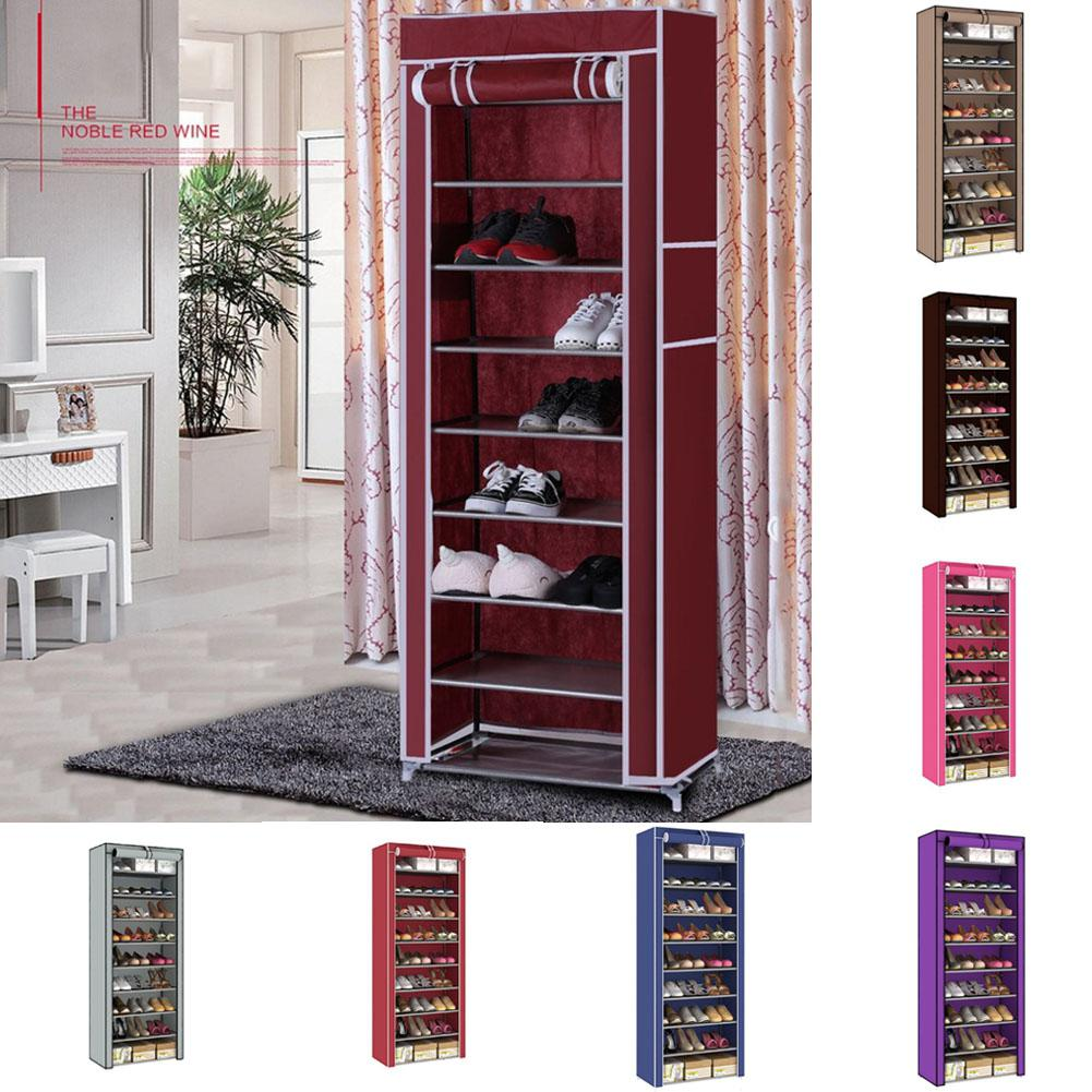 10 Layers 9 Grids Assembled Integrated Shoe Rack Dustproof Shoe Shelf Simple Shoe Cabinet