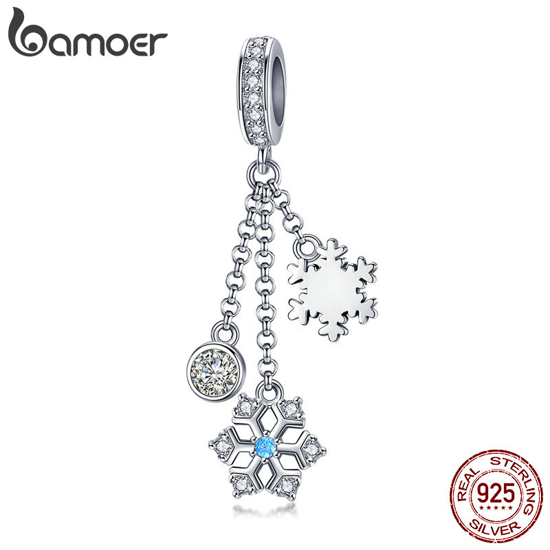 BAMOER Authentic 925 Sterling Silver Christmas Snowflake Clear CZ Charms Fit Women Charm Bracelets Bangles Jewelry Gift SCC1020