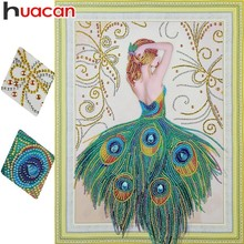 Huacan Special Shaped 5D DIY Diamond Painting Princess Portrait Picture Of Rhinestones Mosaic Peacock 40x50cm