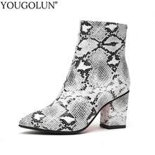 купить Women Zipper Boots Genuine Snakeskin Leather Print Ankle Boots Square Heel Pointed toe Ladies Sexy Shoes New 2020 Boots C047 по цене 2344.18 рублей