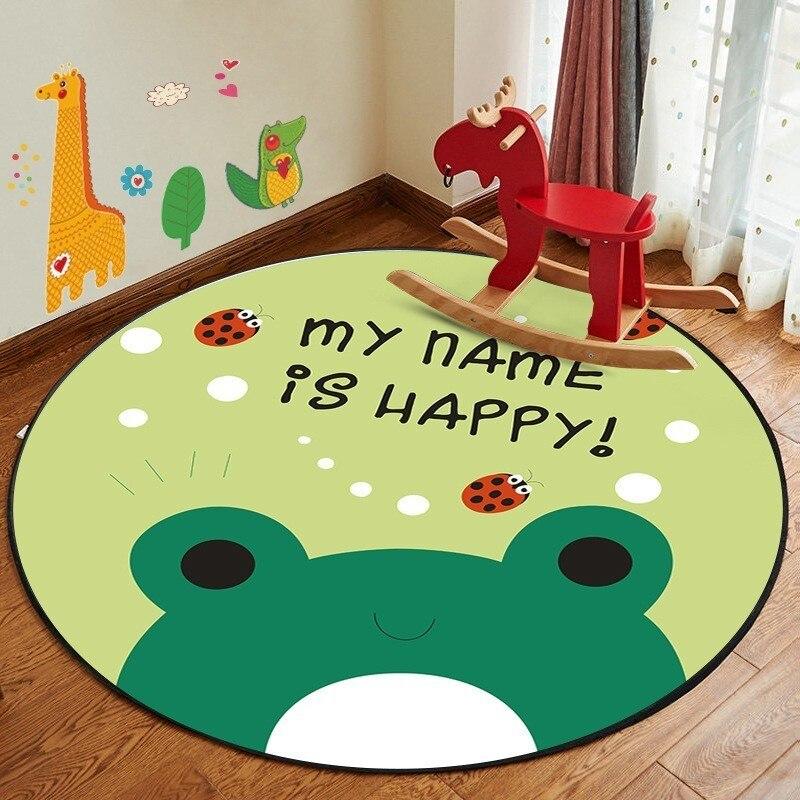 60cm 80cm Round  Nordic Cute Play Mats Bear Rabbit Fish Toys Children Game Cartoon Blanket Carpet Toy Storage Bag For Baby Kids