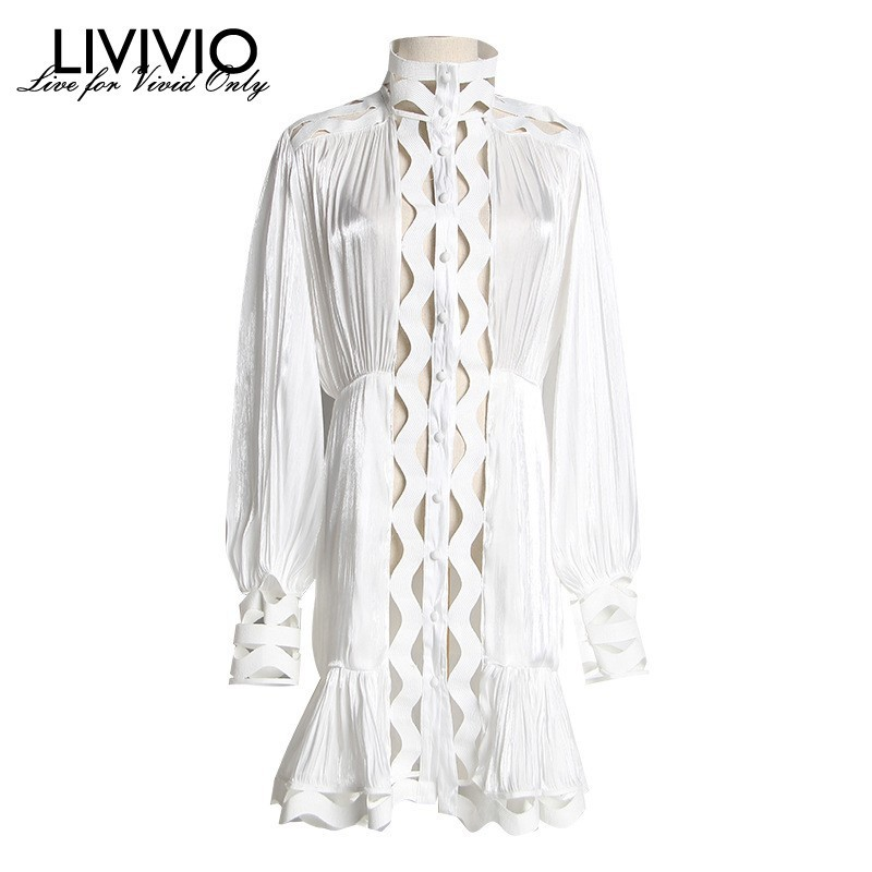 LIVIVIO 2019 Summer Streetwear Two piece White Black Long Lantern Sleeve Shirt Party Club Mini
