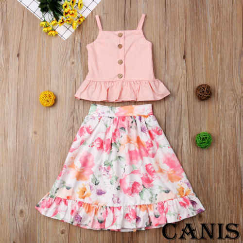 Toddler Kid Baby Girl Clothes Strap Blouse Tops Floral Skirt Dress Outfit Children Set Clothes