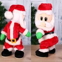 Christmas Toy Doll Gift Party 33cm 13 Electric Music Christmas Santa Decorations Hip Red Shake 0inch Dancing Claus