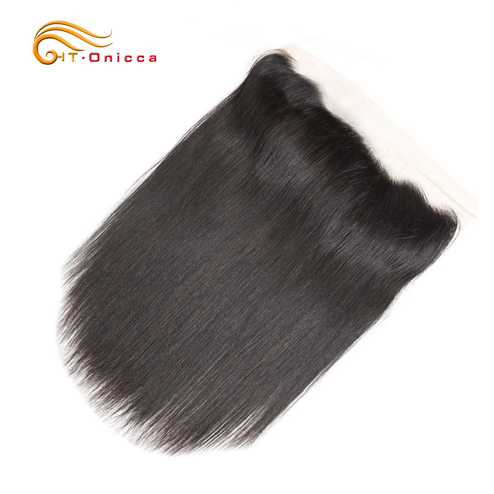 Onicca Pre Plucked Brazilian Straight Hair Lace Frontal Closure Non-Remy Human Hair Frontal 13X4 Free Part With Baby Hair