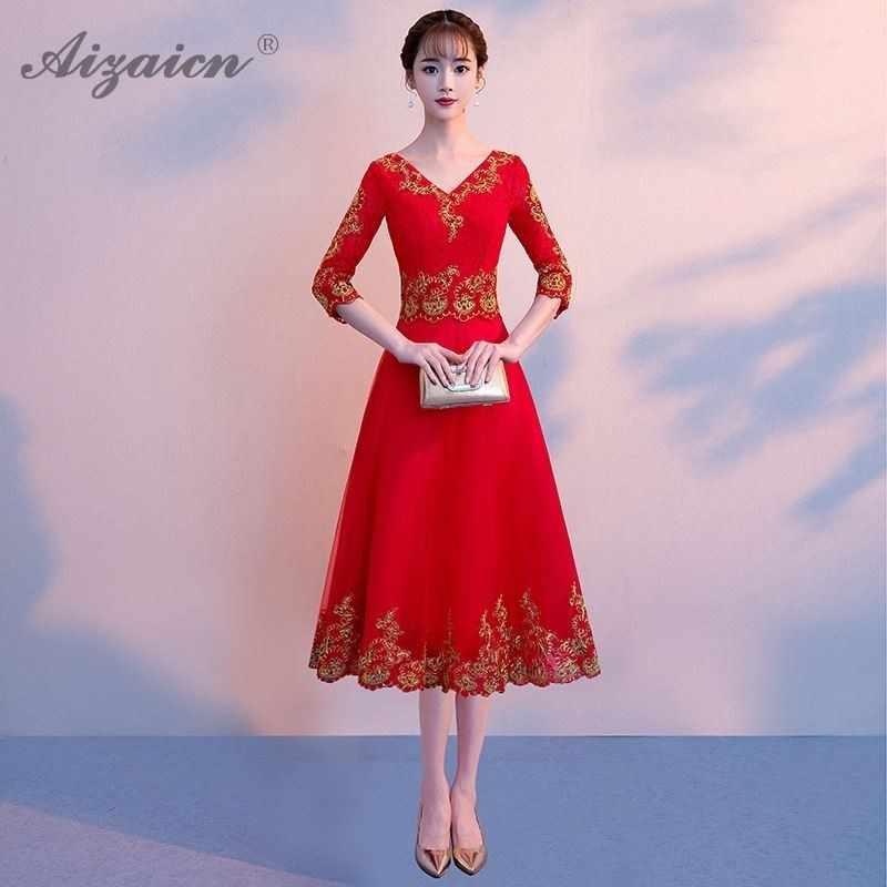 ワインレッド繁体字中国語ロングイブニングドレスファッションチャイナドレスセクシーな結婚式のレースの袍ローブオリエンタルスタイルドレスカジュアル