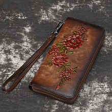 Women Natural Skin Long Wallet Money Handy Bag ID Card Holde