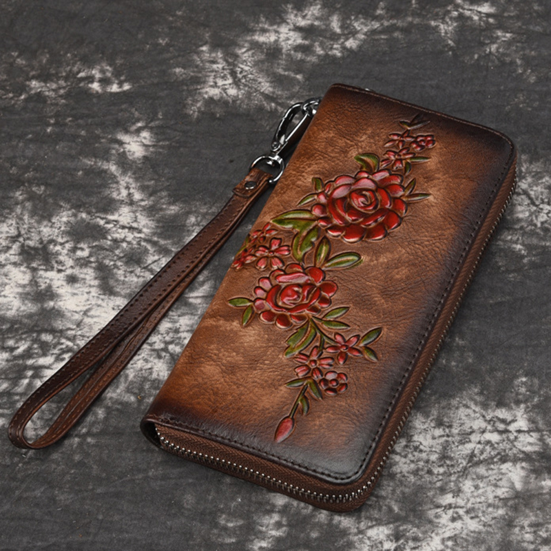 Women Natural Skin Long Wallet Money Handy Bag ID Card Holder Embossed Floral Genuine Leather Zipper Clutch Wrist Bags Purse