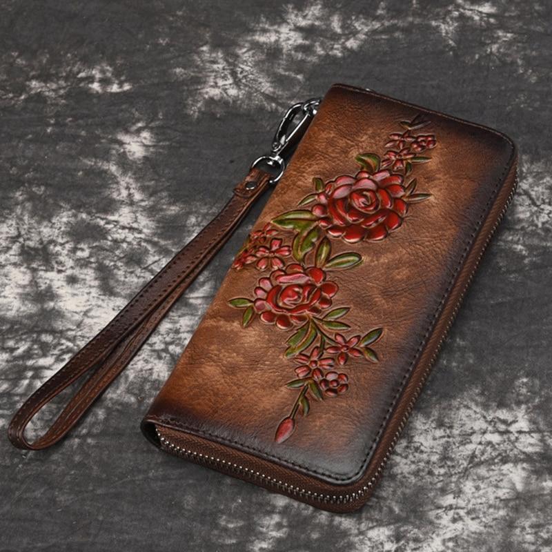 Women Natural Skin Long Wallet Money Handy Bag ID Card Holder Embossed Floral Genuine Leather Zipper Clutch Wrist Bags Purse
