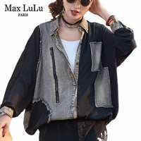 Max LuLu New 2019 Spring Fashion Ladies Tops And Blouses Womens Denim Shirts 3d Striped Woman Loose Punk Clothing Vintage Blusas