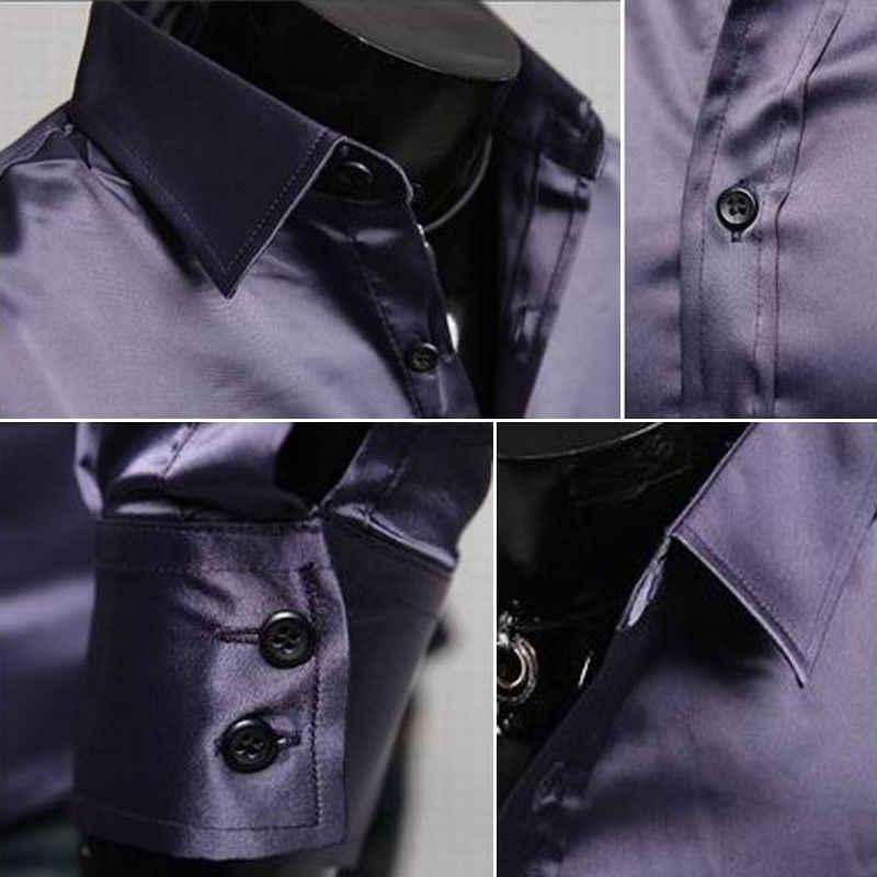 Fashion Seperti Sutra Kemeja Pria 2019 Satin Halus Pria Solid Kemeja Lengan Panjang Bisnis Kasual Slim Fit Pernikahan Gaun kemeja Pakaian