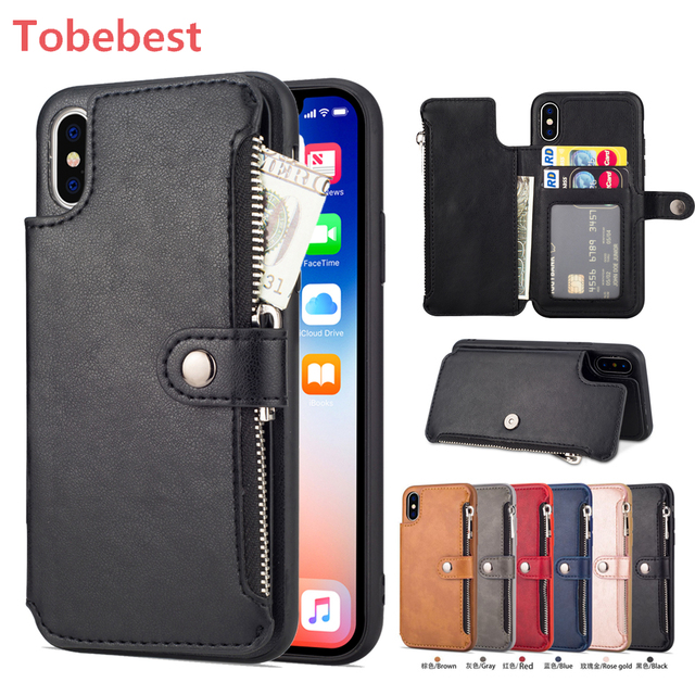 0a95357c427c65 Retro Zipper Cases For iPhone 8 7 6S 6 Plus Case for iPhone X XS MAX XR  Multi Card Holders leather Wallet Phone Cover