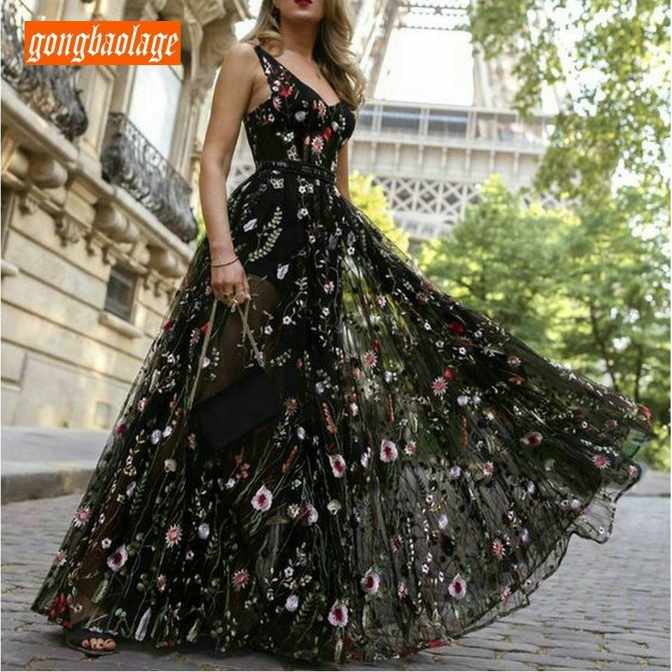 Elegant Bohemian Black Women's Evening Dresses 2019 Long Prom Gowns V Neck Tulle Flower Embroidery Backless Formal Party Dress