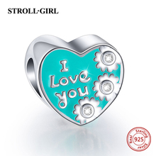 StrollGirl Sterling Silver 925 Love Heart beads Fit Authentic Pandora Charm Bracelets Women DIY Fashion Jewelry Making Gift