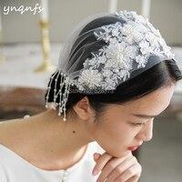 YNQNFS Pearls Heavy Beaded Lace Appliques Vintage Wedding Veil Bridal Veil Facial Veil Blusher Veil Velo de Novia VV2
