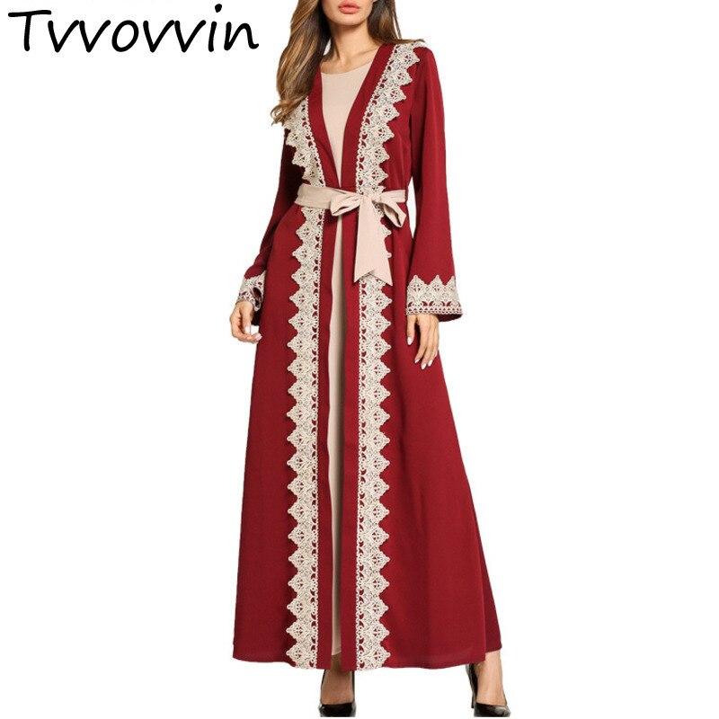 Musulman abaya femmes soirée fête porter arabe dubaï tuniques chic dentelle bord patchwork brodé abaya avec des ceintures minces R294