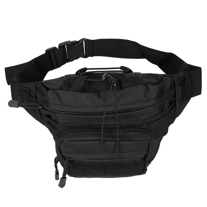 Waterproof Zipper Bags Banana Sports Waist Bag With Adjustable Belt (Black)