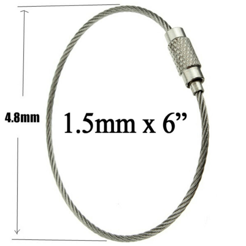 10pcs Stainless Stee lWire Keychains Cable Key Ring Outdoor Hiking Survival Gear