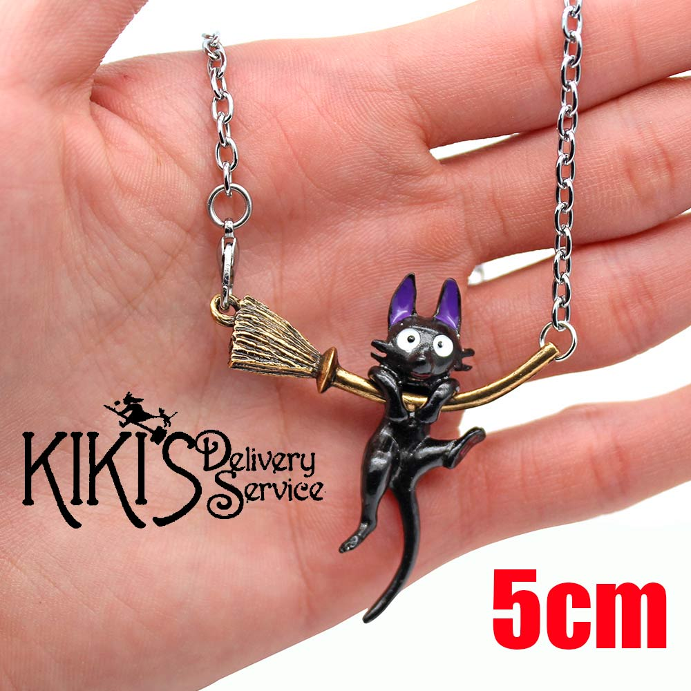 Wellcomics Anime Ghibli Kiki's Delivery Service Jiji Cat Symbol Metal Pendant Necklace Rope Strap Chain Cosplay Collection Gift