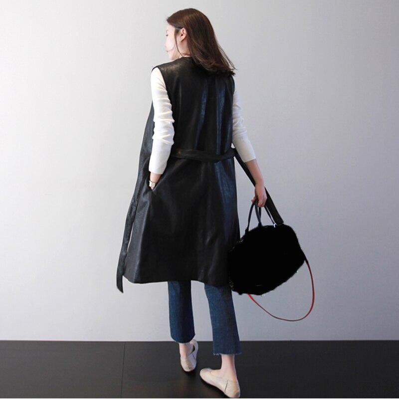 Springwinter Femmes Manches 2019 Long Lacets Coupe Mi De Manteau Sans Supérieure En Noir Black Nouvelles Étroite La936 eam Pu Mode Cuir À Veste Taille Qualité pqHt7t