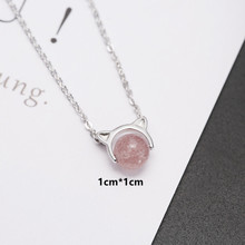 цена на Cute Cat Pure 925 Sterling Silver Necklace Female Crystal Ball Pendant Necklace Women Silver Chain Elegant Jewelry Anti-allergic