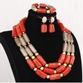 4UJewelry African Jewelry Nature Coral Beads Nigerian Edo Traditional Weddings Bridal Jewelry Set 2 Rows 12-20 mm Necklace Set