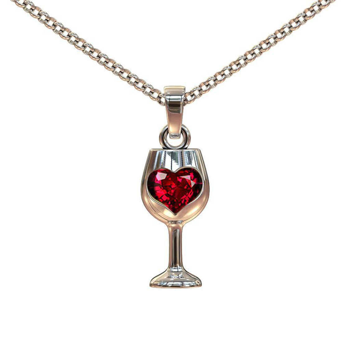 Goblet Red Wine Glass Red Zircon Stone Pendant Long Chain Statement