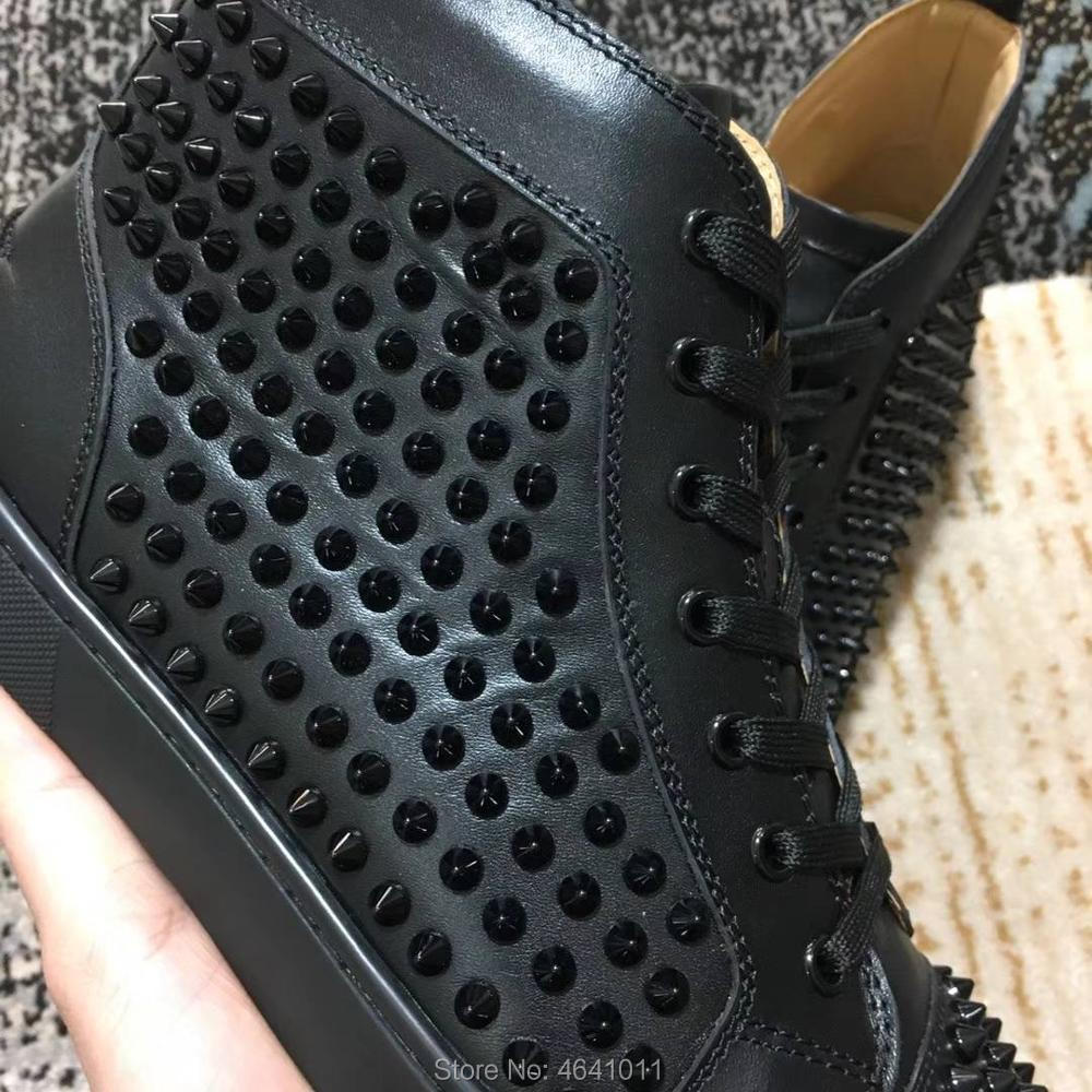 High Top Leisure shoes cl andgz Lace Up Black with Gold Rivets Whole Red  bottoms For man Shoes sneakers Leather Flat Loafers-in Men s Casual Shoes  from ... c9e18e826dd7