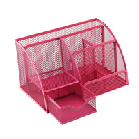 Office Desk Tidy Organiser Pen Holder Mesh Stationery Container For Home Bathroom Organizador(Rose Red)