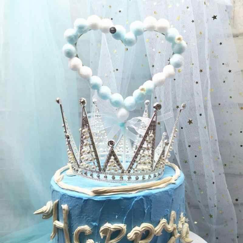 美しい毛深いボール愛ケーキトッパーの誕生日ウェディングパーティーバレンタインの日ケーキデコレーション愛ドレスアップケーキトッパー