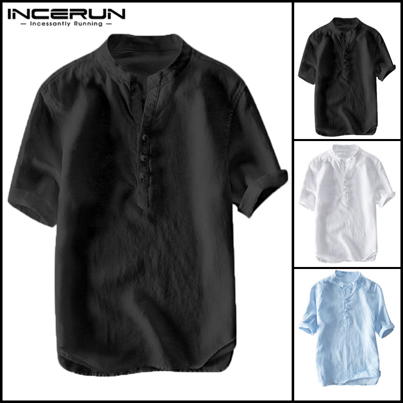 Brand Tang Suit Casual Social Dress Men Shirt Tee Tops Short Sleeve Cotton Shirts Chinese Style Men Clothes Hombre Camisa Male