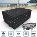 Black Outdoor Waterproof Garden Beach Furniture Cover Protector Table Set Chair Sofa Covers Tighten Patio Dust Protection 4 Size