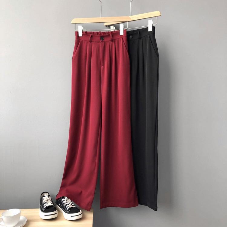 Mooirue Spring Women Pants Femme Ol Streetwear Restore Highwaist Woman Red Wide Leg Pants Chiffon Trousers Bottom