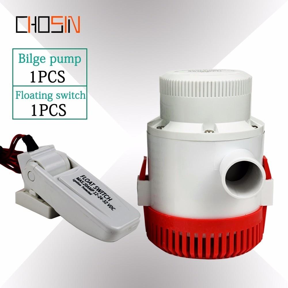 3500GPH pompe à eau de cale de bateau électrique à grand débit 12 v 24 v Dc avec interrupteur à flotteur ensemble Submersible 12 24 volts 3500 Gph
