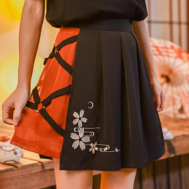 Black Bandage A Line Mini Skirt Women Floral Embroidery Lace Up Fashion Tee Lolita Harajuku Female Two Piece Dress in Women 39 s Sets from Women 39 s Clothing