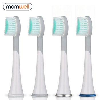 Mornwell 4 stücke Weiß Rubberied Ersatz Zahnbürste Köpfe mit Kappen für Mornwell D01/D02 Elektrische Zahnbürste