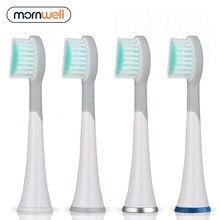 Mornwell – têtes de brosse à dents de rechange caoutchoutées blanches, avec capuchons, pour Mornwell D01/D02, 4 pièces