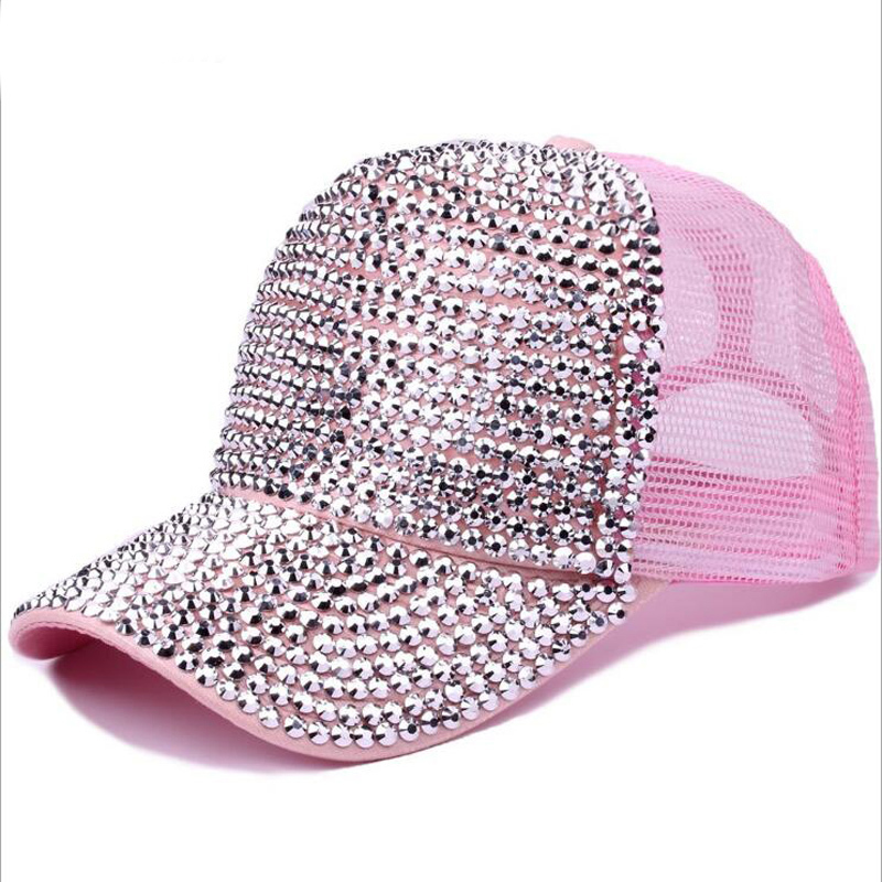 Rhinestones Luxury Pearl Sequins Baseball Cap For Women Summer Cotton Hat Girls Snapback Hip Hop Hat Gorras Casquette Bones
