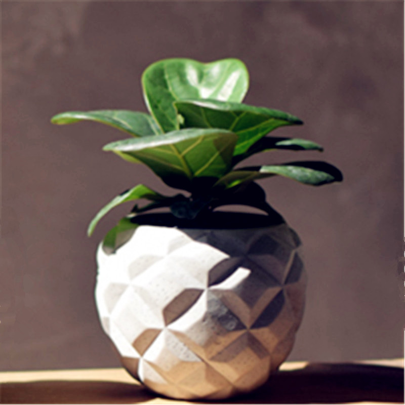 Concrete 3D Pineapple Vase Mould Creative Desktop Decoration Pot Pen Holder Silicone Mold For Cactus Succulent Plants