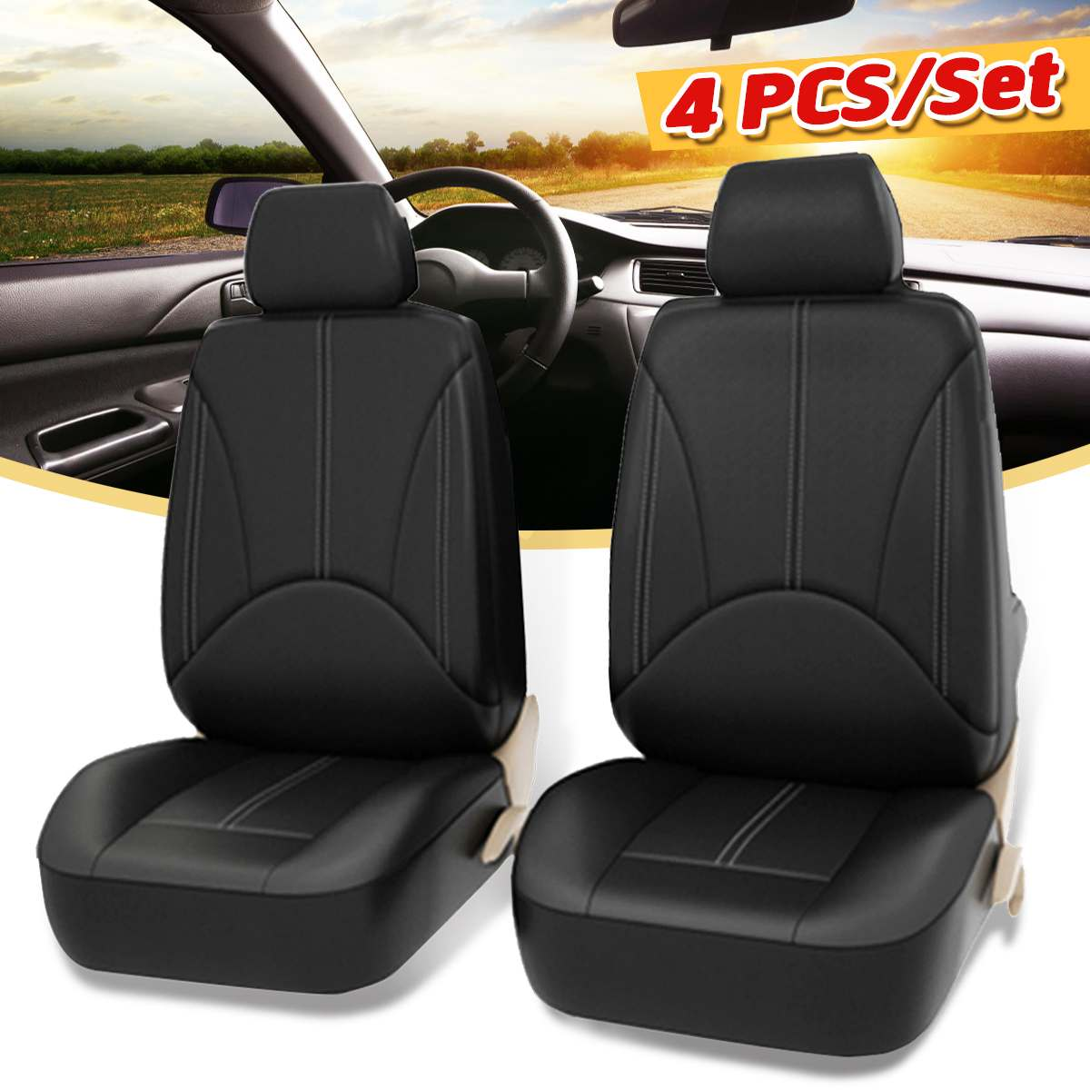 4PCS Universal font b Car b font Front Seat Cover Set PU Leather Breathable Protection Cover