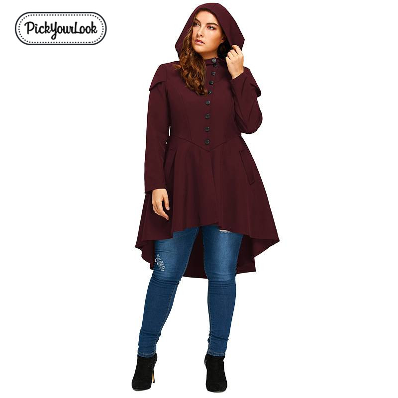 PickyourLook Vintage Retro Womens Punk Hooded Coats Ladies Plus Size Windbreaker Coats Irregular Hems Back Lace Up   Trench   Coats