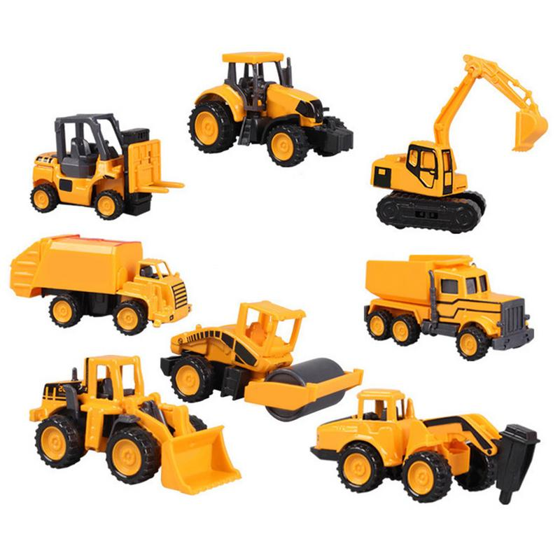 8 Types Excavator Sliding Alloy Car Model Children's Male Mini Toy Alloy Engineering Car Set Outdoor Portable Kid Play Small Toy