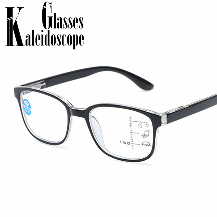 Anti Blue Light Reading Glasses Men Glasses 2.5  Progressive Multifocal Glasses Frame Women Near Far Sight Diopter Eyewear +1.5