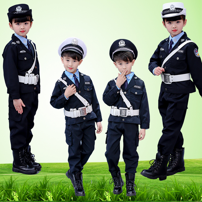 Home 2019 Fashion 8style Boys Policemen Disguise Special Police Cosplay Costumes Kids Army Halloween Children Special Police Uniform 110-160cm