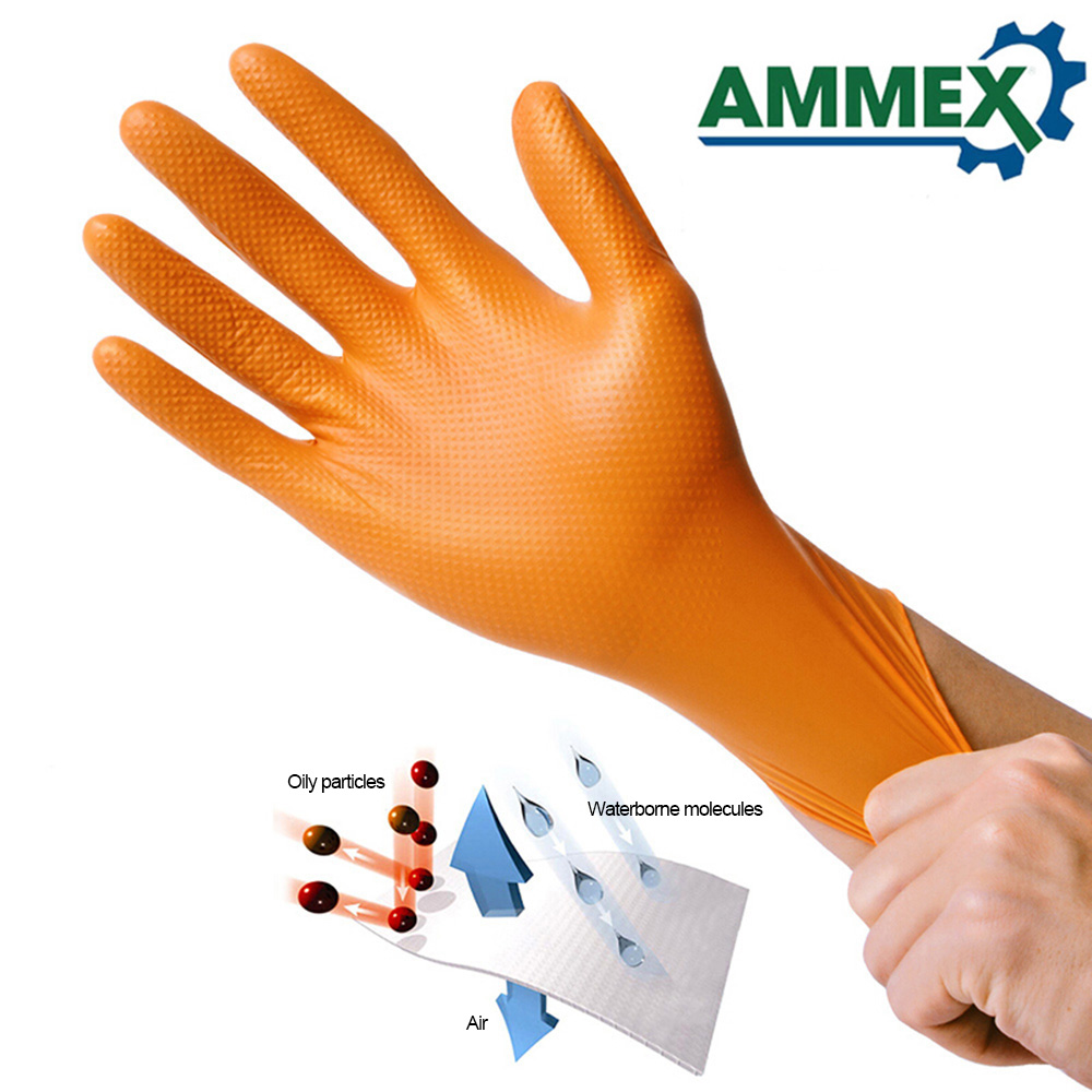 Image 3 - 100pcs Disposable Gloves Thick Rubber Oil Acid Resistant Nitrile Rubber Gloves For Home Food Laboratory Cleaning Use-in Safety Gloves from Security & Protection