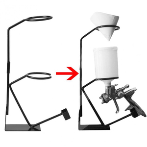 Image 1 - הכי חדש תרסיס אקדח סוגר סוגר הכבידה להאכיל צבע מחזיק מרסס Stand עם מסננת מחזיק קיר ספסל צבע כלים חלקי